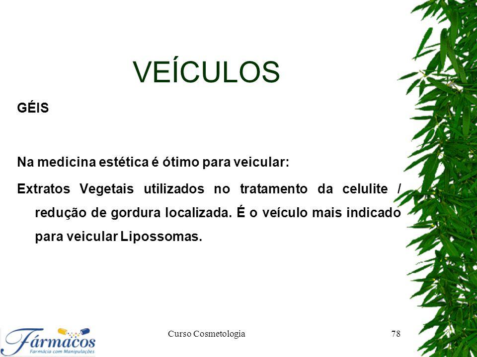 VEÍCULOS GÉIS Na medicina estética é ótimo para veicular: Extratos Vegetais utilizados no tratamento da celulite / redução de gordura localizada. É o