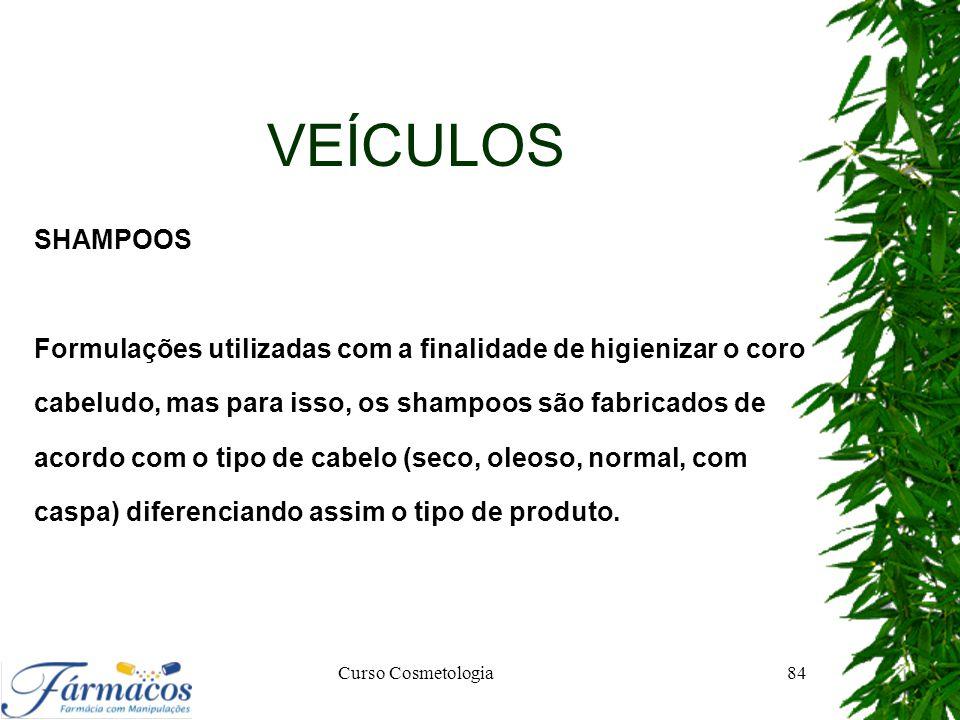 VEÍCULOS SHAMPOOS Formulações utilizadas com a finalidade de higienizar o coro cabeludo, mas para isso, os shampoos são fabricados de acordo com o tip