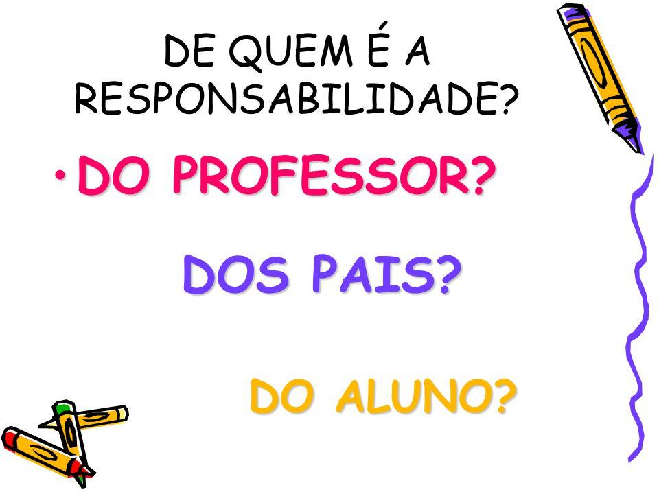 DE QUEM É A RESPONSABILIDADE? DO PROFESSOR?DO PROFESSOR? DOS PAIS? DO ALUNO?