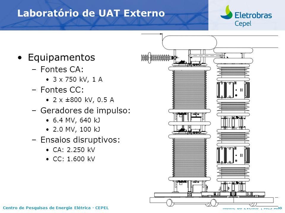 Centro de Pesquisas de Energia Elétrica - CEPELNome do Evento   Mês Ano Laboratório de UAT Externo FASE 1 – Instalações casa de controle; gerador de impulso de 6.4 MV; pórtico central canaleta de interligação entre a casa de controle e a base do gerador de impulso de 6.4 MV; Base do galpão de armazenamento –Equipamentos comissionados Gerador de impulso de 6.4 MV Fonte CC de ± 800 kV; 0,5 A Fonte CA - 1 fase: 750 kV, 1 A.