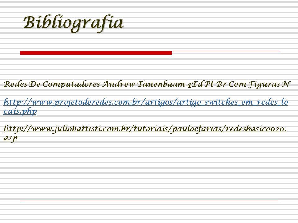 Bibliografia Redes De Computadores Andrew Tanenbaum 4Ed Pt Br Com Figuras N http://www.projetoderedes.com.br/artigos/artigo_switches_em_redes_lo cais.