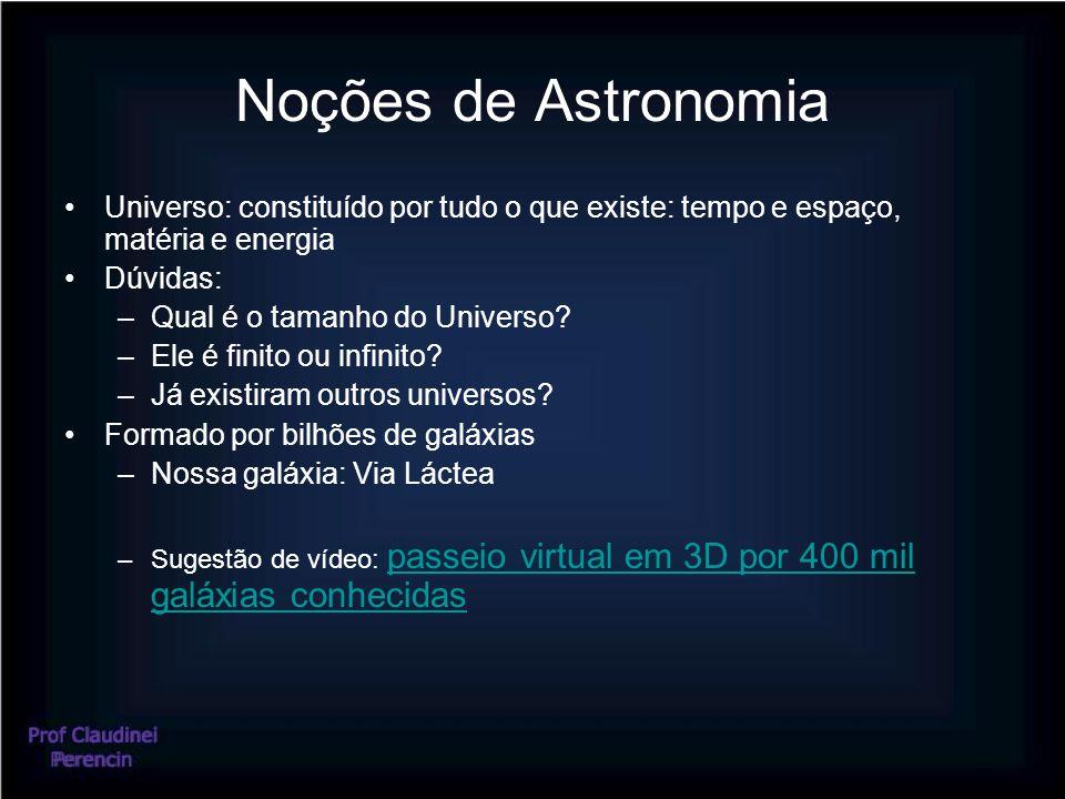 Noções de Astronomia Universo: constituído por tudo o que existe: tempo e espaço, matéria e energia Dúvidas: –Qual é o tamanho do Universo? –Ele é fin