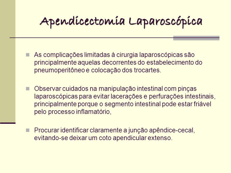 Apendicectomia Laparoscópica As complicações limitadas à cirurgia laparoscópicas são principalmente aquelas decorrentes do estabelecimento do pneumoperitôneo e colocação dos trocartes.