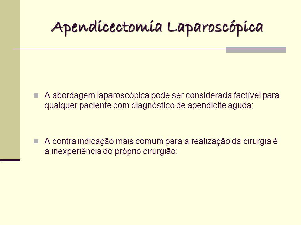 Apendicectomia Laparoscópica A abordagem laparoscópica pode ser considerada factível para qualquer paciente com diagnóstico de apendicite aguda; A contra indicação mais comum para a realização da cirurgia é a inexperiência do próprio cirurgião;