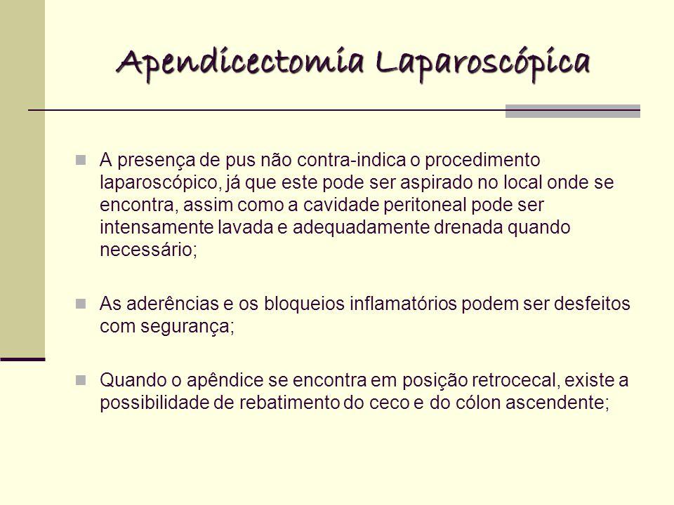 Apendicectomia Laparoscópica A presença de pus não contra-indica o procedimento laparoscópico, já que este pode ser aspirado no local onde se encontra, assim como a cavidade peritoneal pode ser intensamente lavada e adequadamente drenada quando necessário; As aderências e os bloqueios inflamatórios podem ser desfeitos com segurança; Quando o apêndice se encontra em posição retrocecal, existe a possibilidade de rebatimento do ceco e do cólon ascendente;