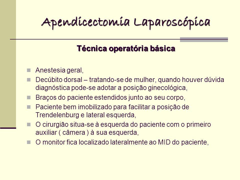Apendicectomia Laparoscópica Técnica operatória básica Anestesia geral, Decúbito dorsal – tratando-se de mulher, quando houver dúvida diagnóstica pode-se adotar a posição ginecológica, Braços do paciente estendidos junto ao seu corpo, Paciente bem imobilizado para facilitar a posição de Trendelenburg e lateral esquerda, O cirurgião situa-se à esquerda do paciente com o primeiro auxiliar ( câmera ) à sua esquerda, O monitor fica localizado lateralmente ao MID do paciente,