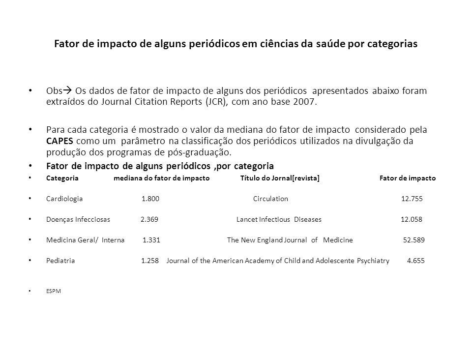 Fator de impacto de alguns periódicos em ciências da saúde por categorias Obs  Os dados de fator de impacto de alguns dos periódicos apresentados abaixo foram extraídos do Journal Citation Reports (JCR), com ano base 2007.