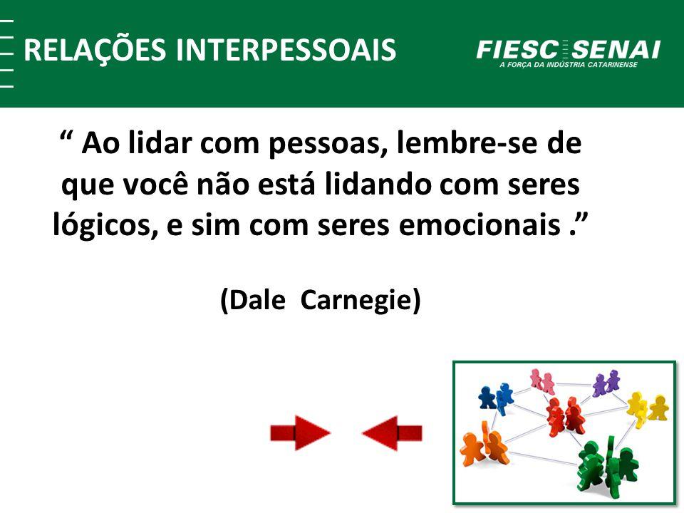 RELAÇÕES INTERPESSOAIS Ao lidar com pessoas, lembre-se de que você não está lidando com seres lógicos, e sim com seres emocionais. (Dale Carnegie)