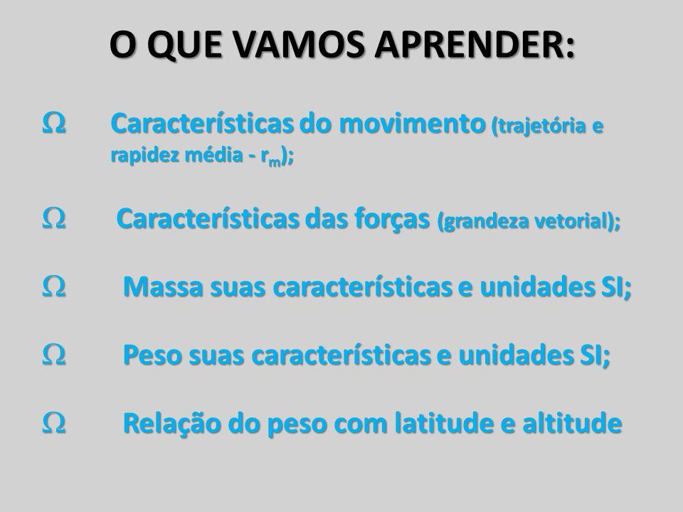 O QUE VAMOS APRENDER:  Características do movimento (trajetória e rapidez média - r m );  Características das forças (grandeza vetorial);  Massa su