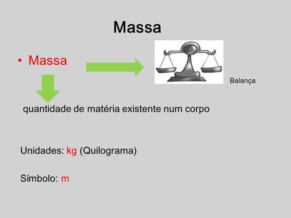 Massa quantidade de matéria existente num corpo Unidades: kg (Quilograma) Símbolo: m Balança