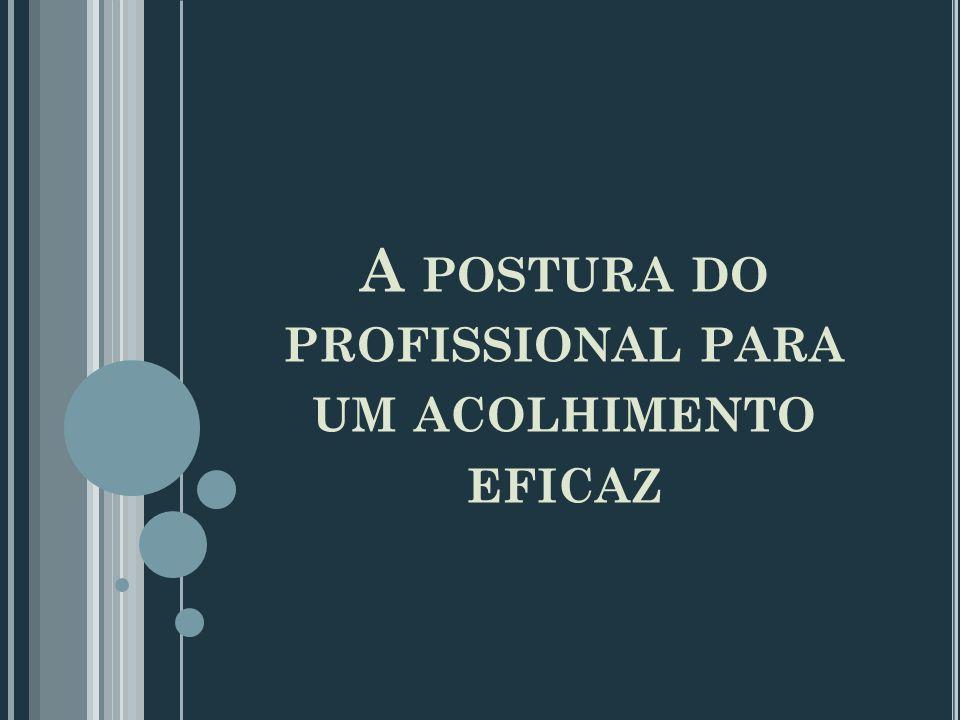 A POSTURA DO PROFISSIONAL PARA UM ACOLHIMENTO EFICAZ