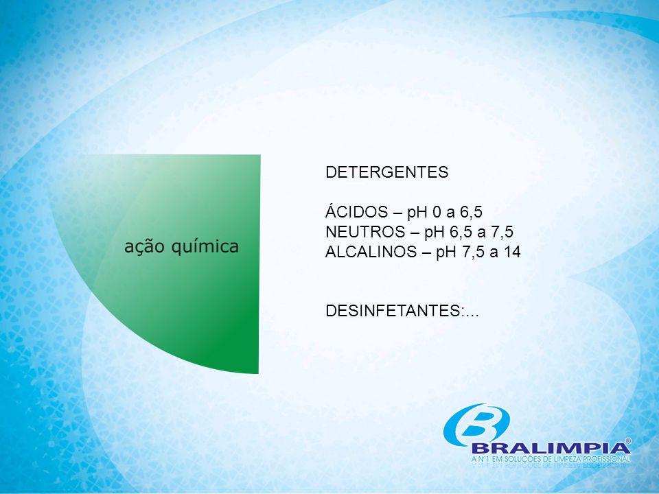 DETERGENTES ÁCIDOS – pH 0 a 6,5 NEUTROS – pH 6,5 a 7,5 ALCALINOS – pH 7,5 a 14 DESINFETANTES:...