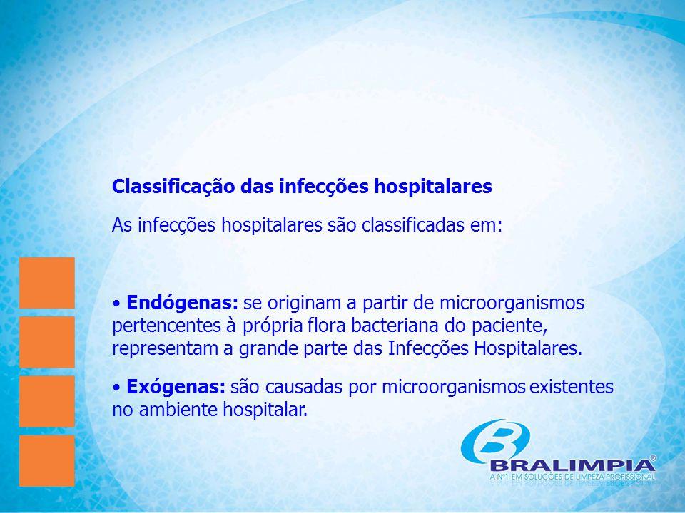 Classificação das infecções hospitalares As infecções hospitalares são classificadas em: Endógenas: se originam a partir de microorganismos pertencent