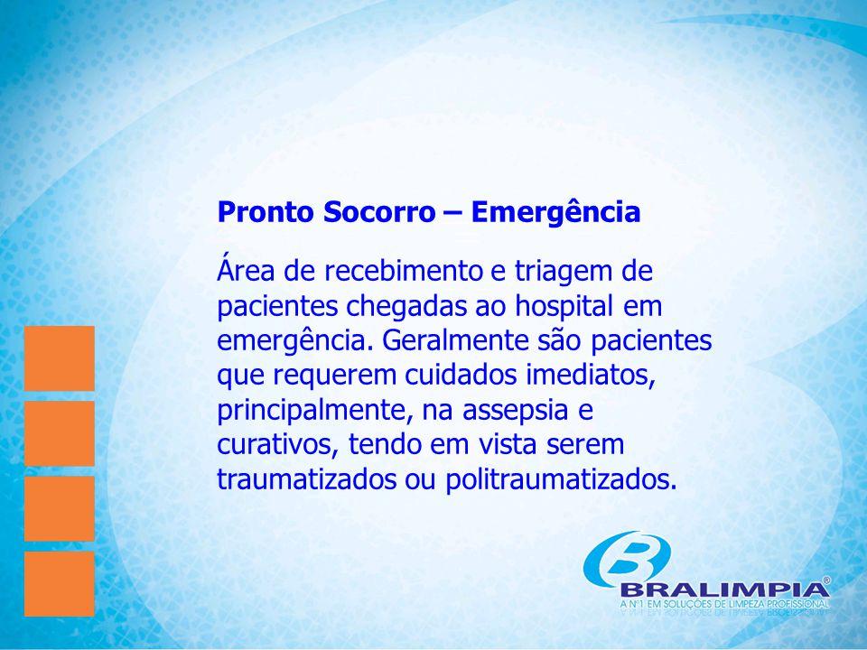 Pronto Socorro – Emergência Área de recebimento e triagem de pacientes chegadas ao hospital em emergência. Geralmente são pacientes que requerem cuida