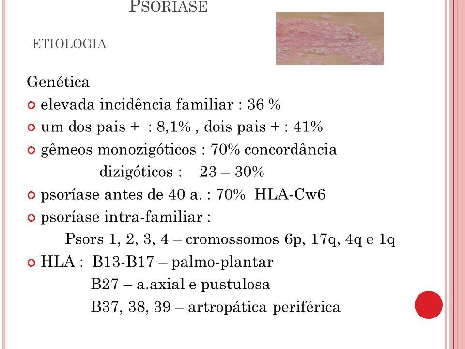 P SORÍASE DIAGNÓSTICO DIFERENCIAL Dermatite seborreica Eczemas Liquen simples crônico Liquen plano Micoses superficiais Pitiríase rósea Sífilis secundária Lupus eritematoso sub-agudo Eritrodermias Pustulose sub-córnea SSSS