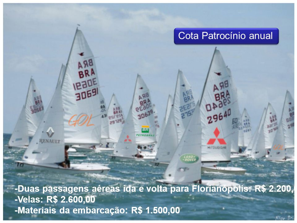 -Duas passagens aéreas ida e volta para Florianópolis: R$ 2.200,00 -Velas: R$ 2.600,00 -Materiais da embarcação: R$ 1.500,00 Cota Patrocínio anual