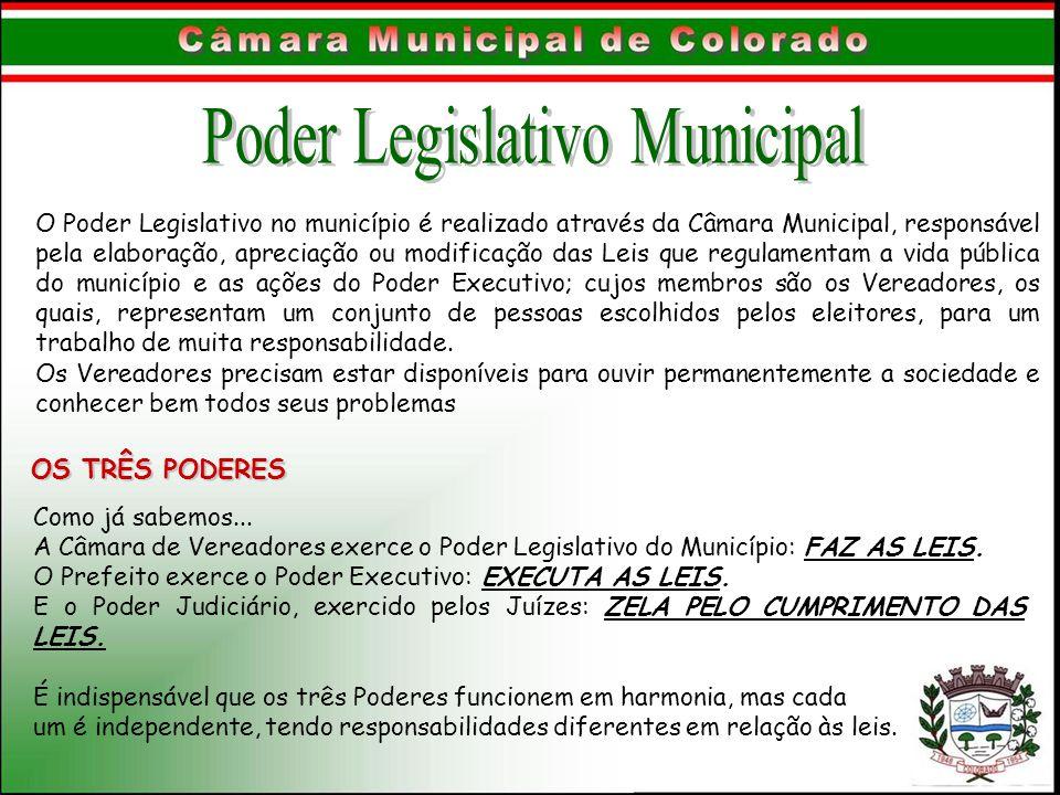 O Poder Legislativo no município é realizado através da Câmara Municipal, responsável pela elaboração, apreciação ou modificação das Leis que regulame