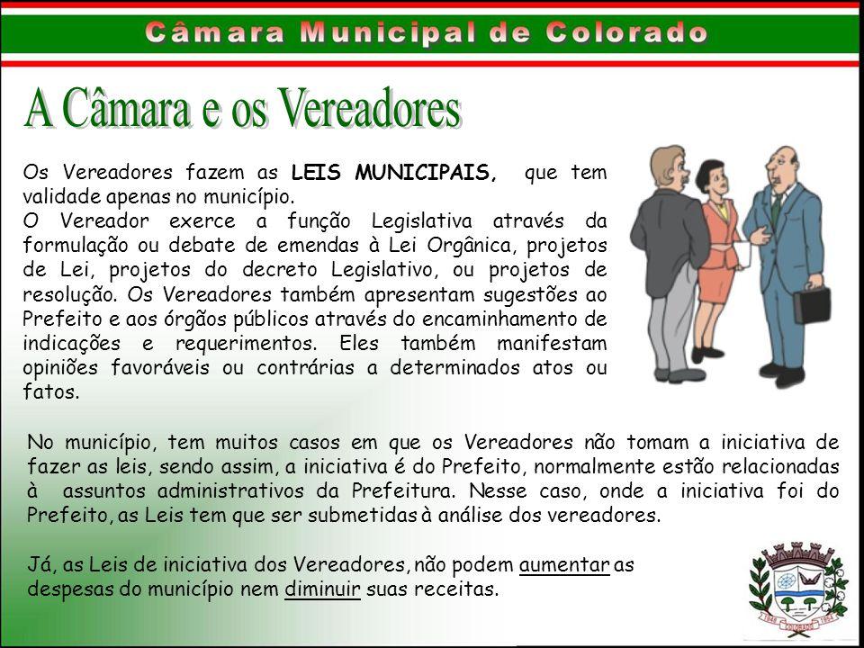 Os Vereadores fazem as LEIS MUNICIPAIS, que tem validade apenas no município. O Vereador exerce a função Legislativa através da formulação ou debate d