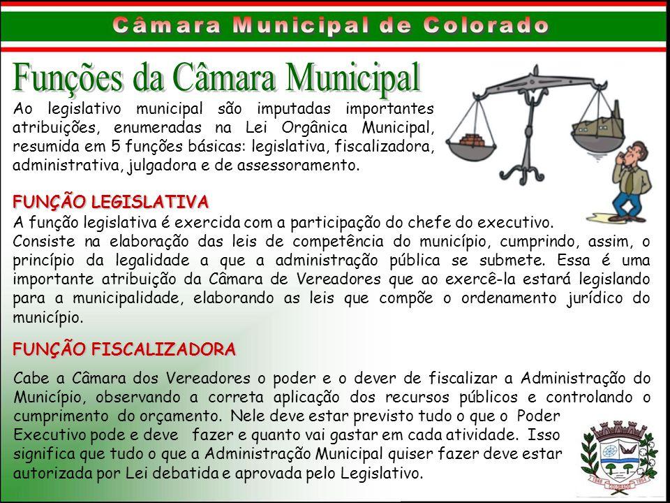 Ao legislativo municipal são imputadas importantes atribuições, enumeradas na Lei Orgânica Municipal, resumida em 5 funções básicas: legislativa, fisc
