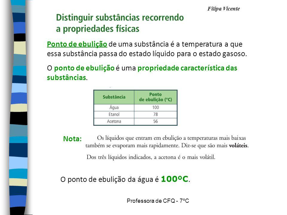 Filipa Vicente Professora de CFQ - 7ºC Ponto de ebulição de uma substância é a temperatura a que essa substância passa do estado líquido para o estado gasoso.