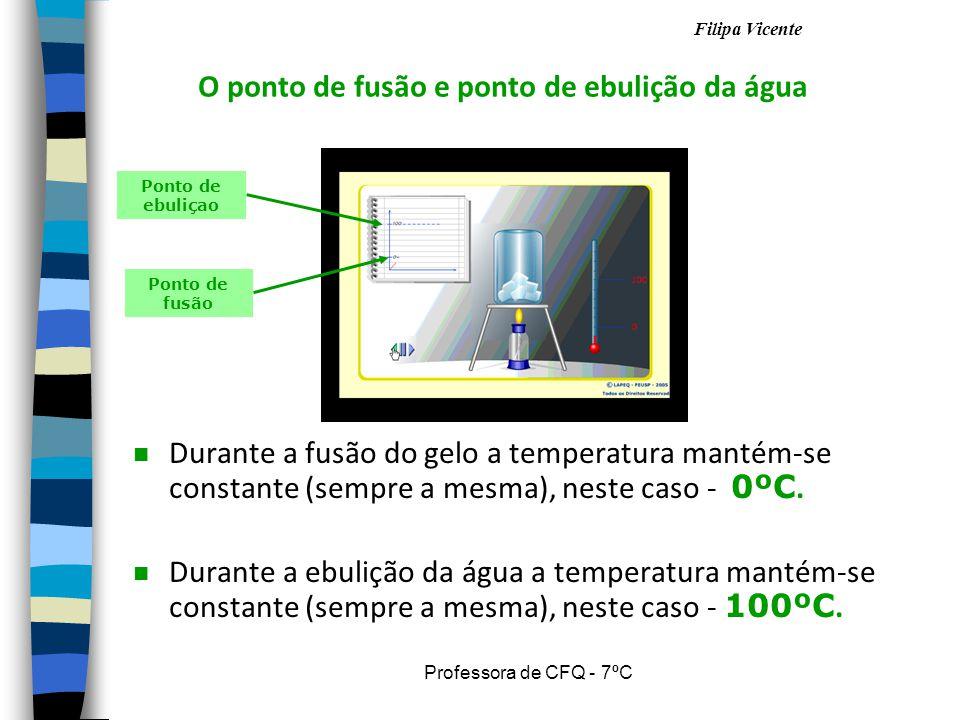 Filipa Vicente Professora de CFQ - 7ºC Durante a fusão do gelo a temperatura mantém-se constante (sempre a mesma), neste caso - 0 ºC.