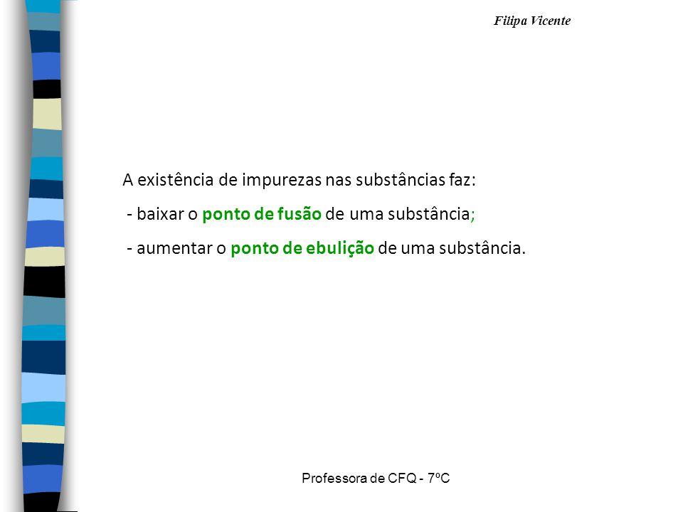 Filipa Vicente Professora de CFQ - 7ºC A existência de impurezas nas substâncias faz: - baixar o ponto de fusão de uma substância; - aumentar o ponto de ebulição de uma substância.