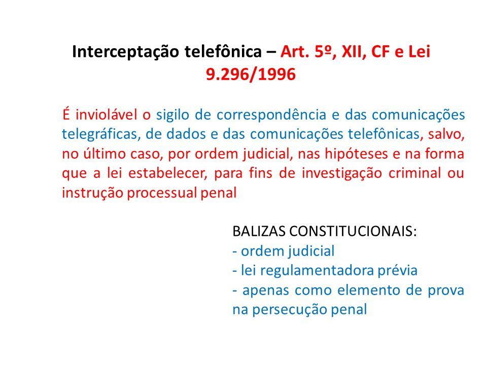 Interceptação telefônica – Art. 5º, XII, CF e Lei 9.296/1996 É inviolável o sigilo de correspondência e das comunicações telegráficas, de dados e das