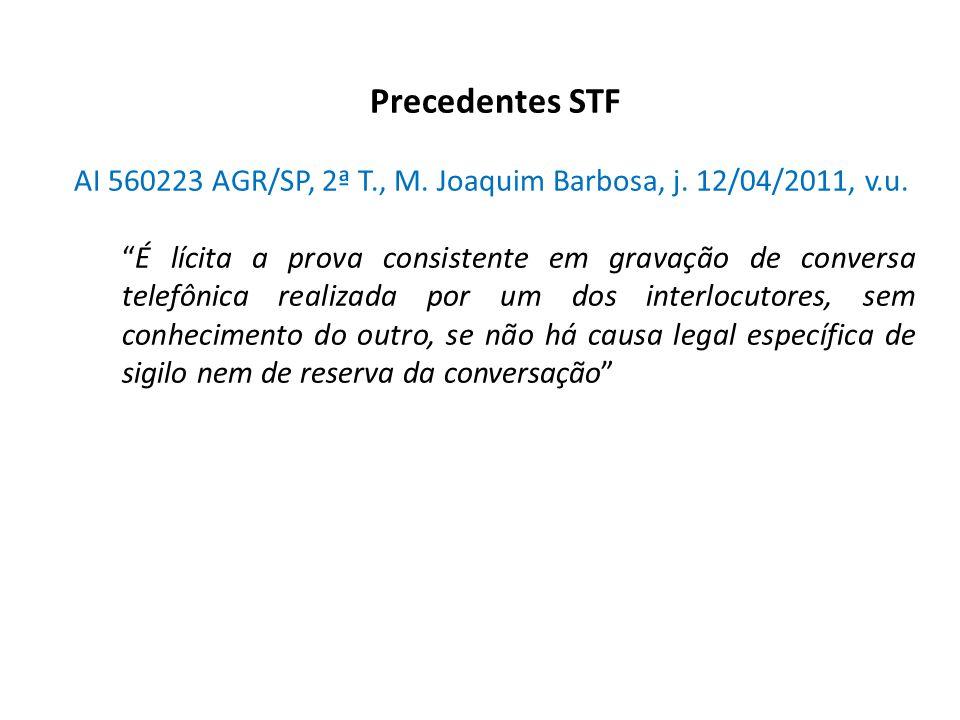 """Precedentes STF AI 560223 AGR/SP, 2ª T., M. Joaquim Barbosa, j. 12/04/2011, v.u. """"É lícita a prova consistente em gravação de conversa telefônica real"""