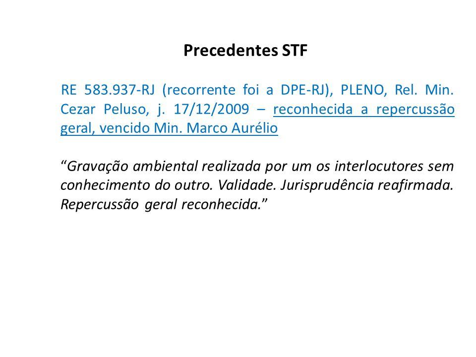 Precedentes STF RE 583.937-RJ (recorrente foi a DPE-RJ), PLENO, Rel. Min. Cezar Peluso, j. 17/12/2009 – reconhecida a repercussão geral, vencido Min.