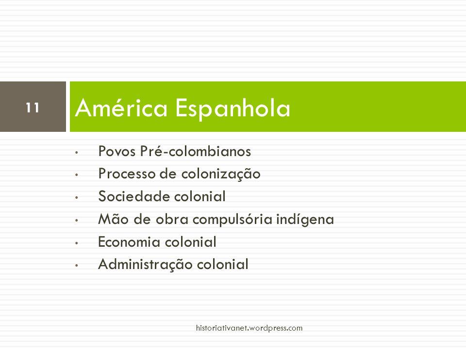 Povos Pré-colombianos Processo de colonização Sociedade colonial Mão de obra compulsória indígena Economia colonial Administração colonial América Esp