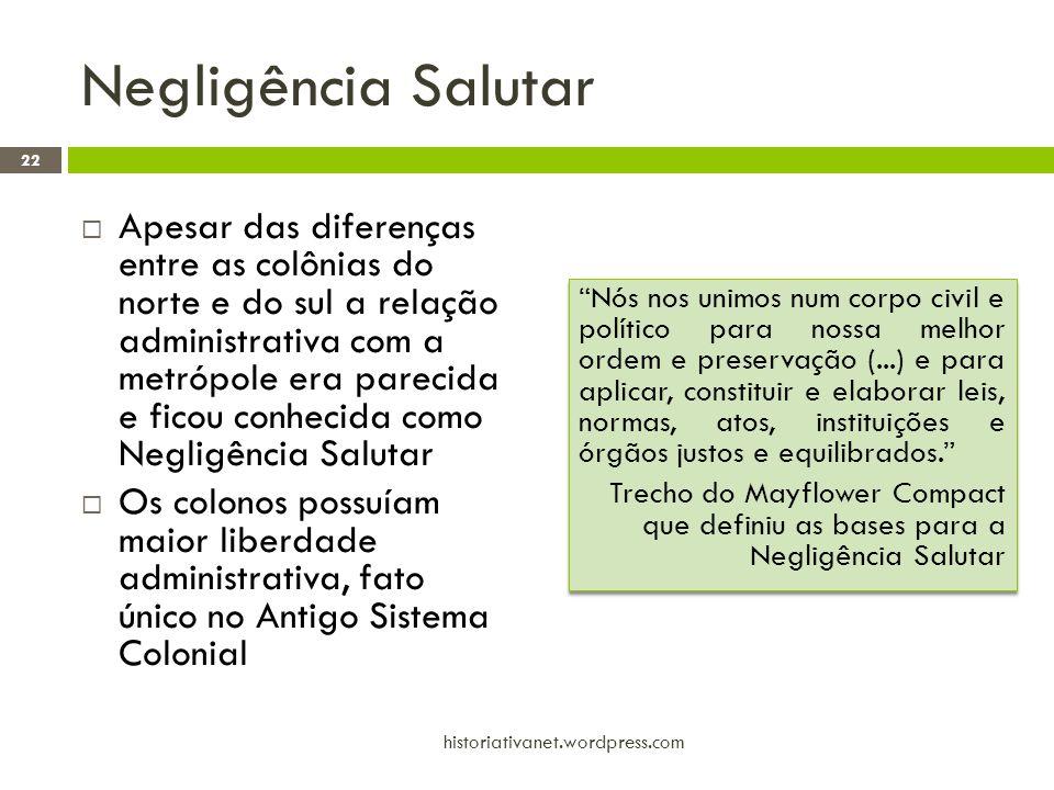 Negligência Salutar  Apesar das diferenças entre as colônias do norte e do sul a relação administrativa com a metrópole era parecida e ficou conhecid