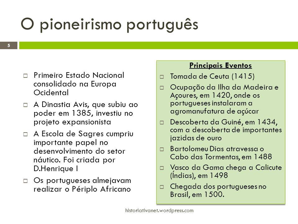 O pioneirismo português  Primeiro Estado Nacional consolidado na Europa Ocidental  A Dinastia Avis, que subiu ao poder em 1385, investiu no projeto