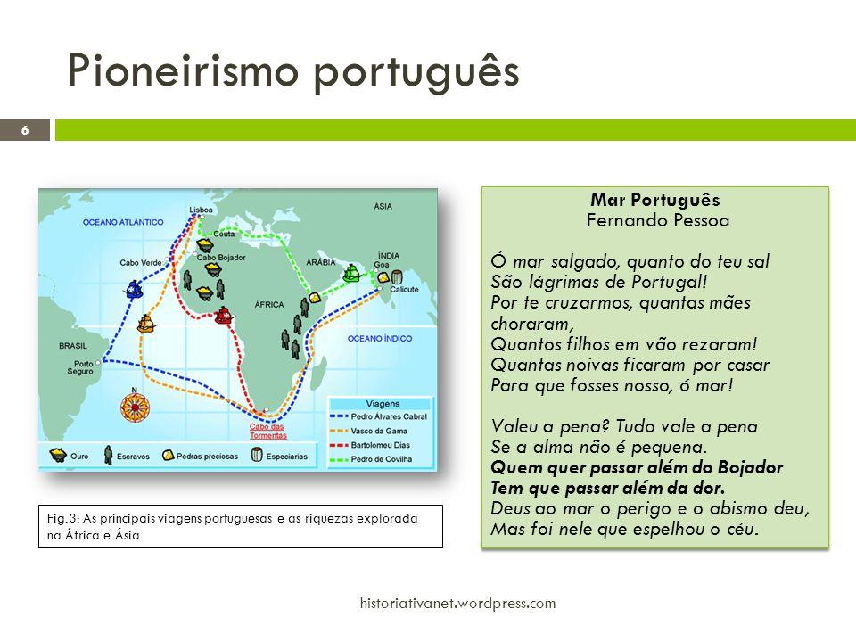 Pioneirismo português 6 historiativanet.wordpress.com Fig.3: As principais viagens portuguesas e as riquezas explorada na África e Ásia Mar Português