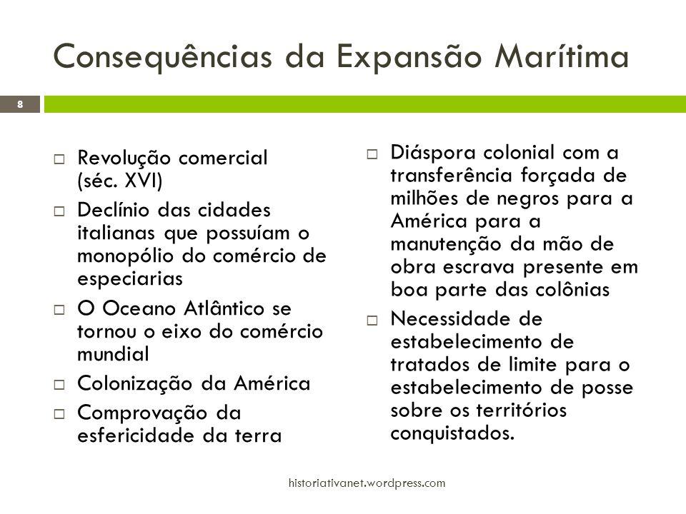 Consequências da Expansão Marítima  Revolução comercial (séc. XVI)  Declínio das cidades italianas que possuíam o monopólio do comércio de especiari
