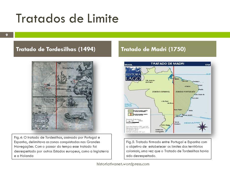 Tratados de Limite 9 historiativanet.wordpress.com Tratado de Tordesilhas (1494)Tratado de Madri (1750) Fig.4: O tratado de Tordesilhas, assinado por