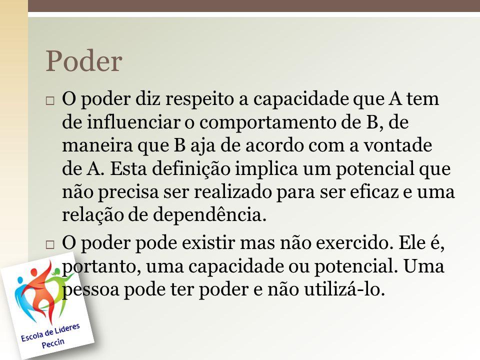  O poder diz respeito a capacidade que A tem de influenciar o comportamento de B, de maneira que B aja de acordo com a vontade de A. Esta definição i