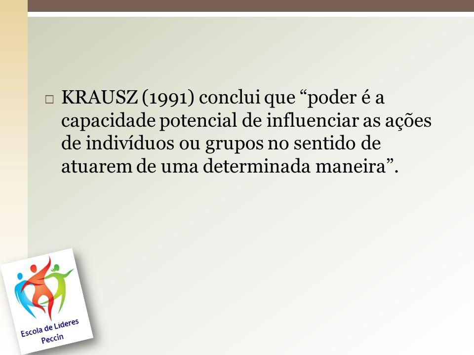 """ KRAUSZ (1991) conclui que """"poder é a capacidade potencial de influenciar as ações de indivíduos ou grupos no sentido de atuarem de uma determinada m"""