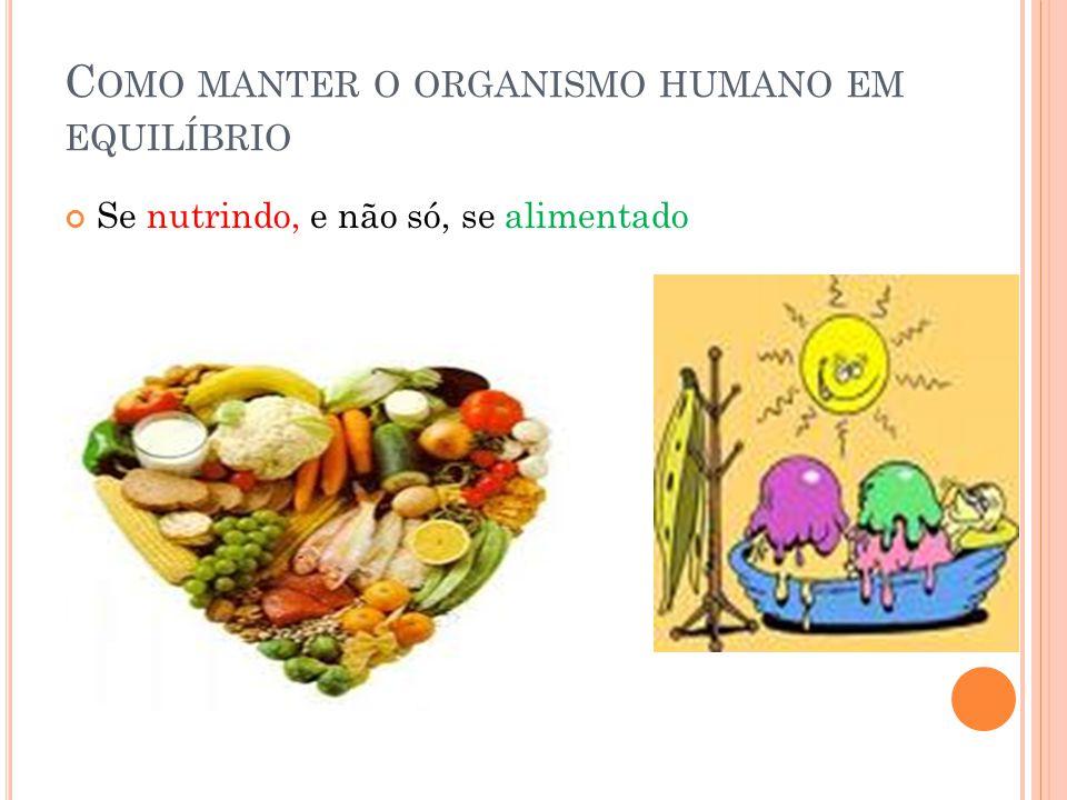 C OMO MANTER O ORGANISMO HUMANO EM EQUILÍBRIO Se nutrindo, e não só, se alimentado