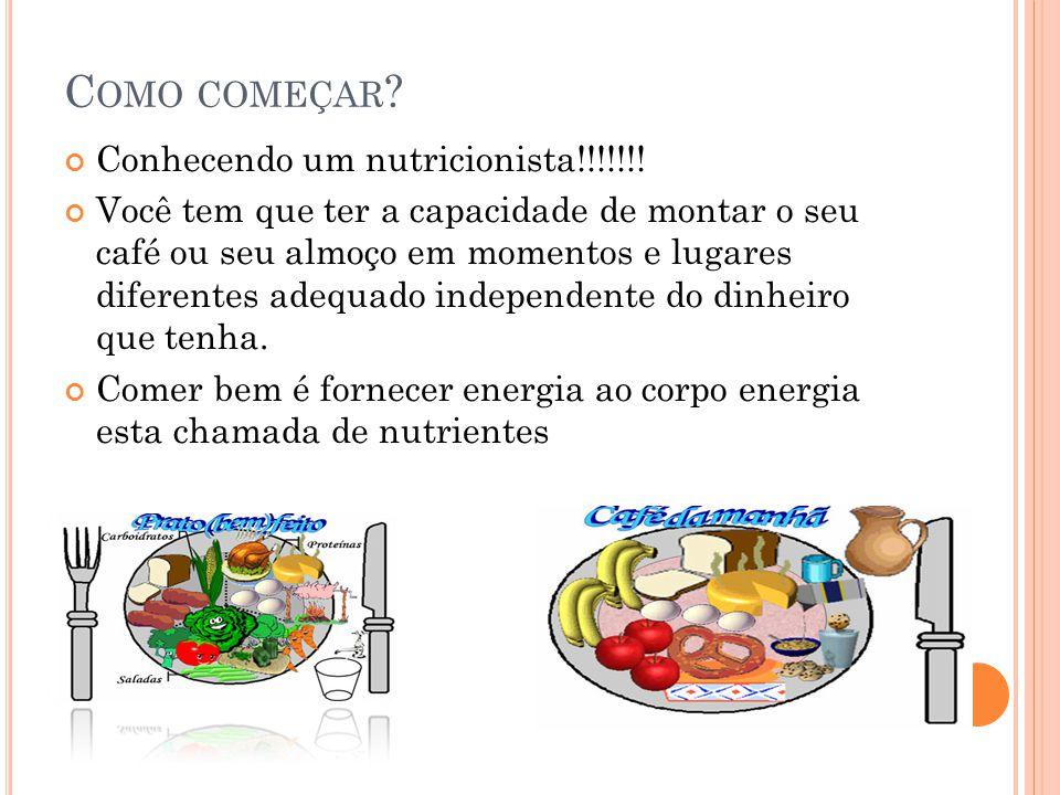 C OMO COMEÇAR ? Conhecendo um nutricionista!!!!!!! Você tem que ter a capacidade de montar o seu café ou seu almoço em momentos e lugares diferentes a