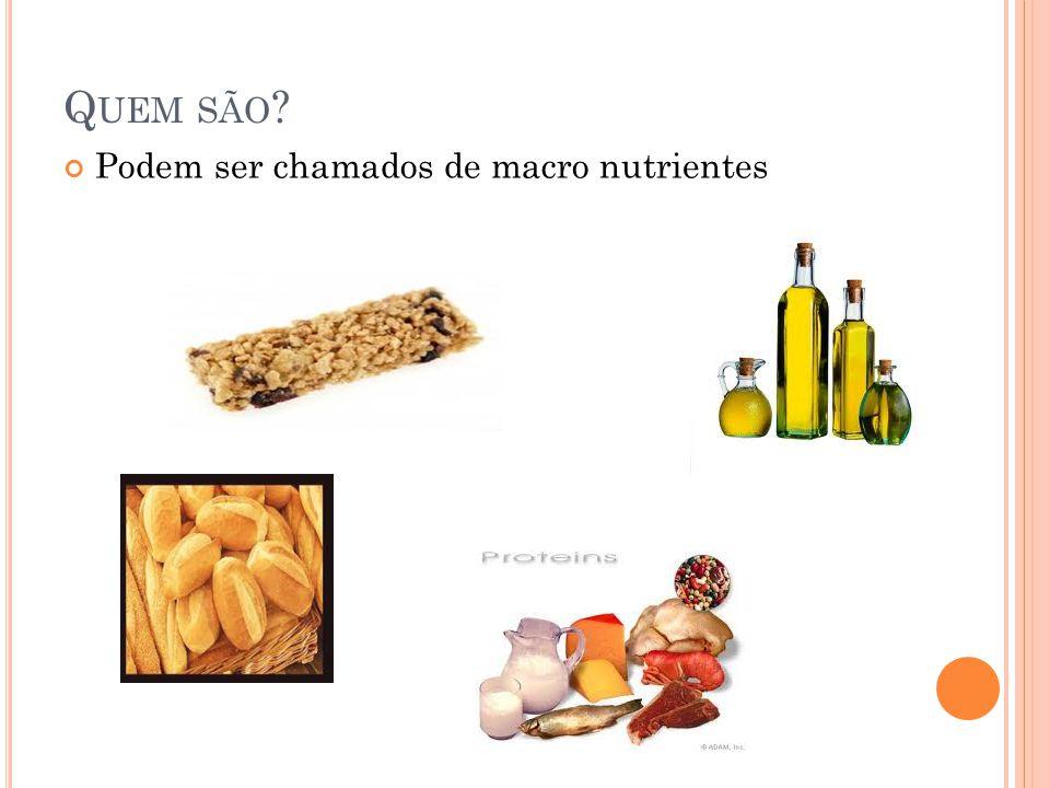 Q UEM SÃO ? Podem ser chamados de macro nutrientes