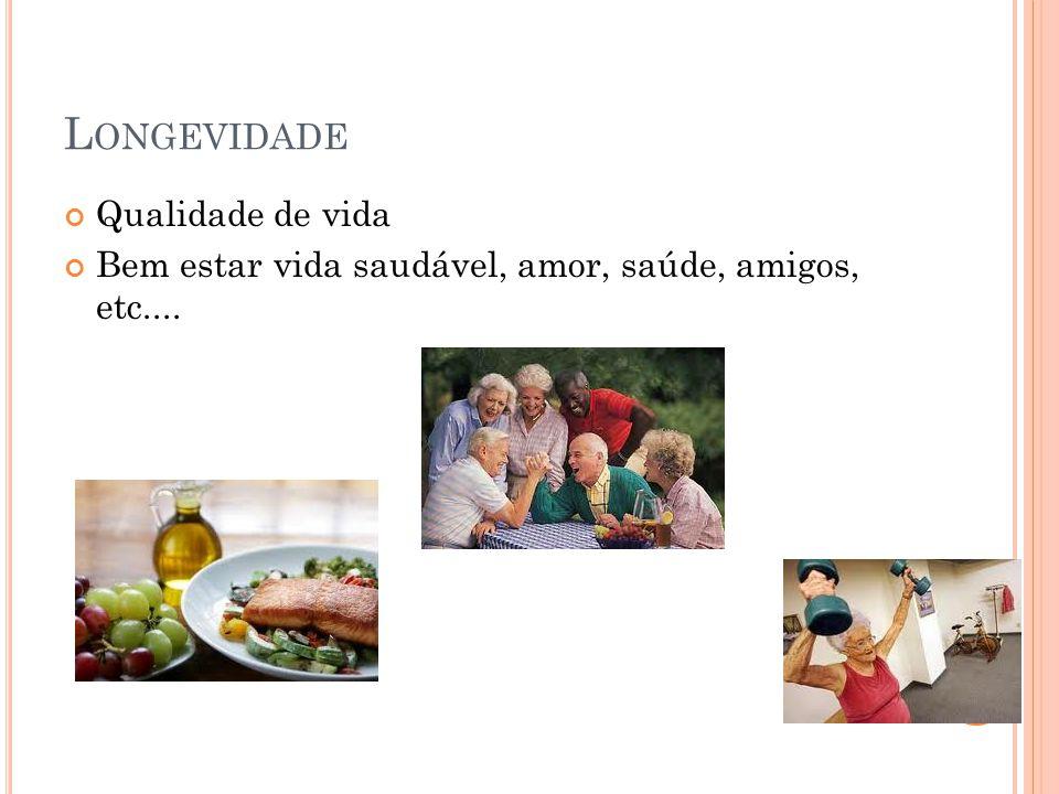 L ONGEVIDADE Qualidade de vida Bem estar vida saudável, amor, saúde, amigos, etc....