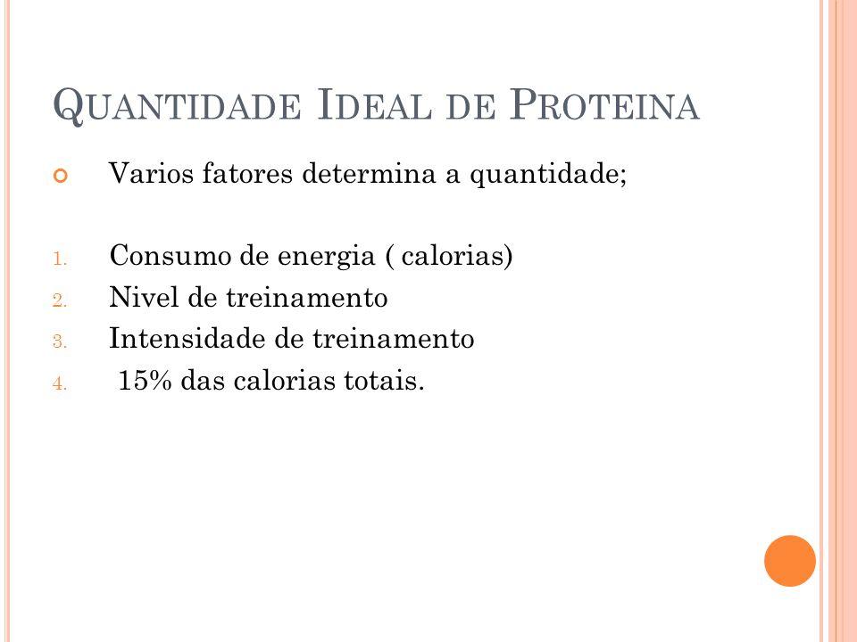 Q UANTIDADE I DEAL DE P ROTEINA Varios fatores determina a quantidade; 1. Consumo de energia ( calorias) 2. Nivel de treinamento 3. Intensidade de tre