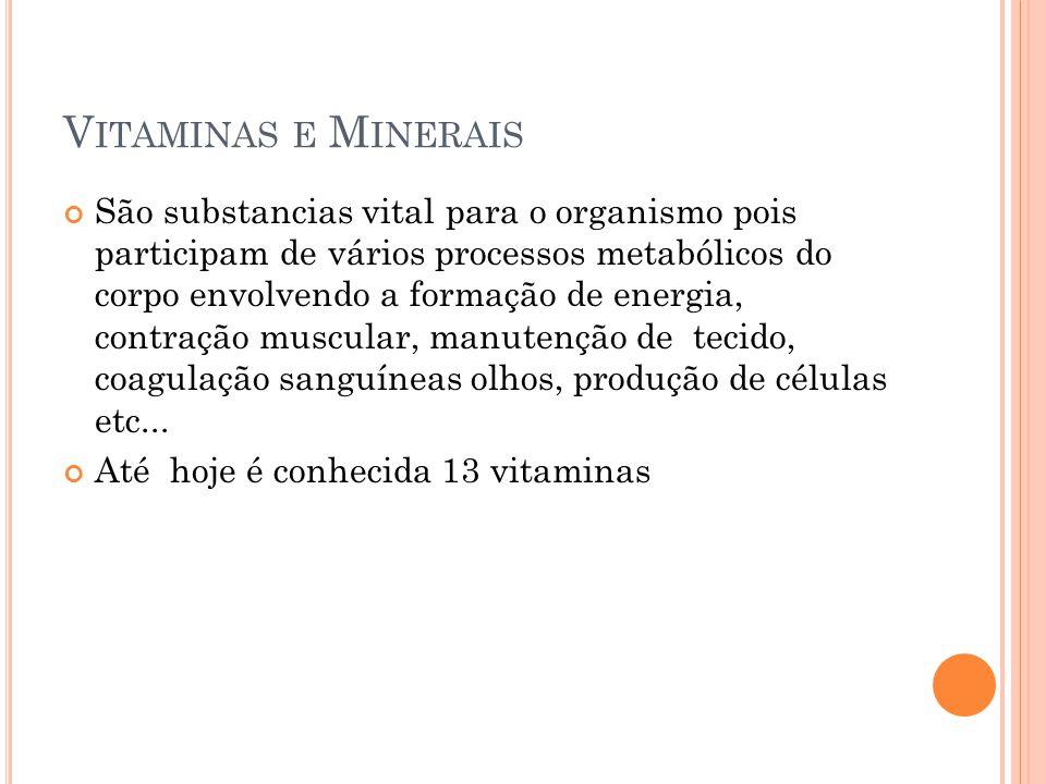 V ITAMINAS E M INERAIS São substancias vital para o organismo pois participam de vários processos metabólicos do corpo envolvendo a formação de energi