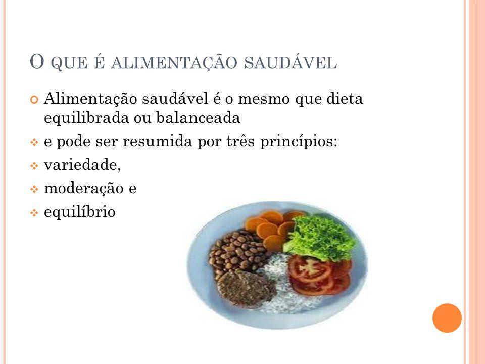 O QUE É ALIMENTAÇÃO SAUDÁVEL Alimentação saudável é o mesmo que dieta equilibrada ou balanceada  e pode ser resumida por três princípios:  variedade