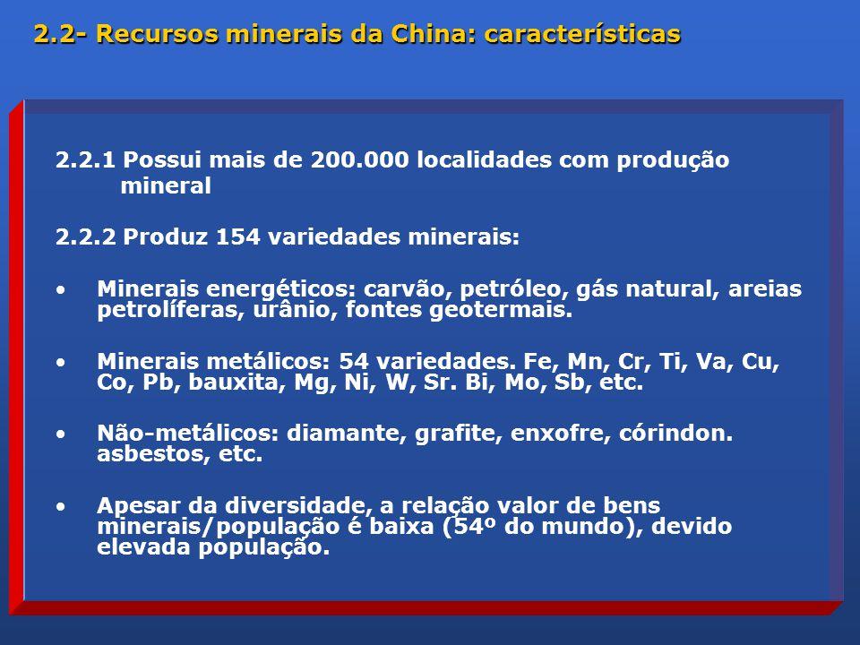 2.2.1 Possui mais de 200.000 localidades com produção mineral 2.2.2 Produz 154 variedades minerais: Minerais energéticos: carvão, petróleo, gás natural, areias petrolíferas, urânio, fontes geotermais.