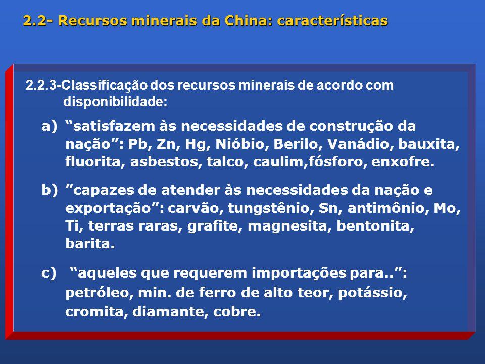 a) satisfazem às necessidades de construção da nação : Pb, Zn, Hg, Nióbio, Berilo, Vanádio, bauxita, fluorita, asbestos, talco, caulim,fósforo, enxofre.
