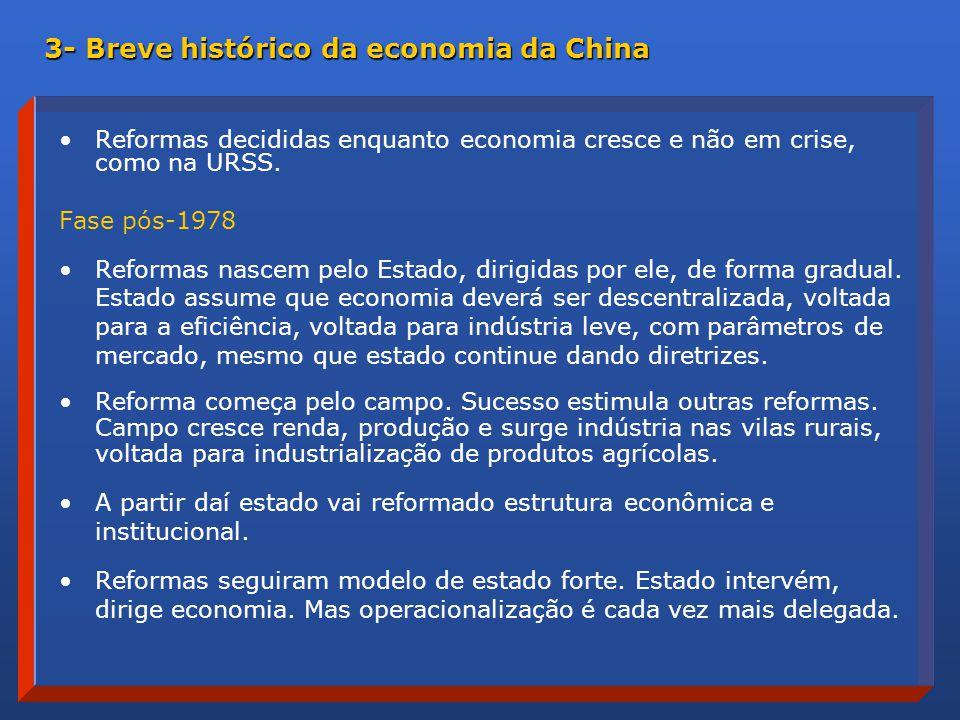 Reformas decididas enquanto economia cresce e não em crise, como na URSS.