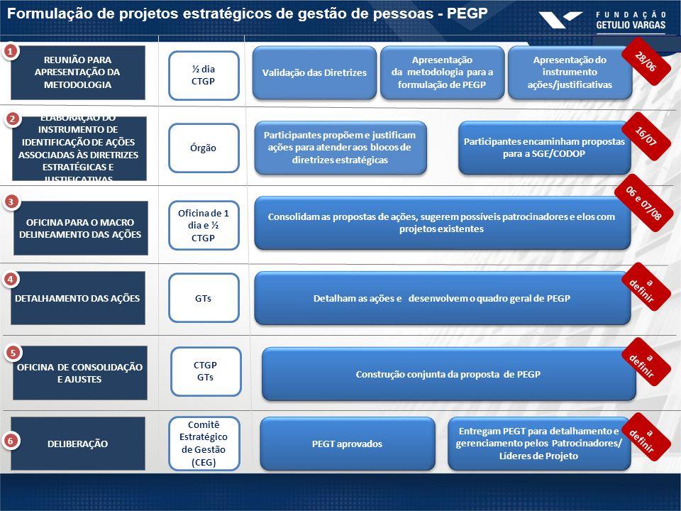 Formulação de projetos estratégicos de gestão de pessoas - PEGP 11 REUNIÃO PARA APRESENTAÇÃO DA METODOLOGIA OFICINA PARA O MACRO DELINEAMENTO DAS AÇÕES DETALHAMENTO DAS AÇÕES DELIBERAÇÃO ½ dia CTGP Órgão Oficina de 1 dia e ½ CTGP Comitê Estratégico de Gestão (CEG) GTs Participantes propõem e justificam ações para atender aos blocos de diretrizes estratégicas Participantes encaminham propostas para a SGE/CODOP Consolidam as propostas de ações, sugerem possíveis patrocinadores e elos com projetos existentes 1 1 3 3 4 4 6 6 Detalham as ações e desenvolvem o quadro geral de PEGP PEGT aprovados Entregam PEGT para detalhamento e gerenciamento pelos Patrocinadores/ Líderes de Projeto OFICINA DE CONSOLIDAÇÃO E AJUSTES CTGP GTs Construção conjunta da proposta de PEGP Validação das Diretrizes Apresentação do instrumento ações/justificativas Apresentação da metodologia para a formulação de PEGP Apresentação da metodologia para a formulação de PEGP ELABORAÇÃO DO INSTRUMENTO DE IDENTIFICAÇÃO DE AÇÕES ASSOCIADAS ÀS DIRETRIZES ESTRATÉGICAS E JUSTIFICATIVAS 2 2 28/06 16/07 06 e 07/08 a definir 5 5