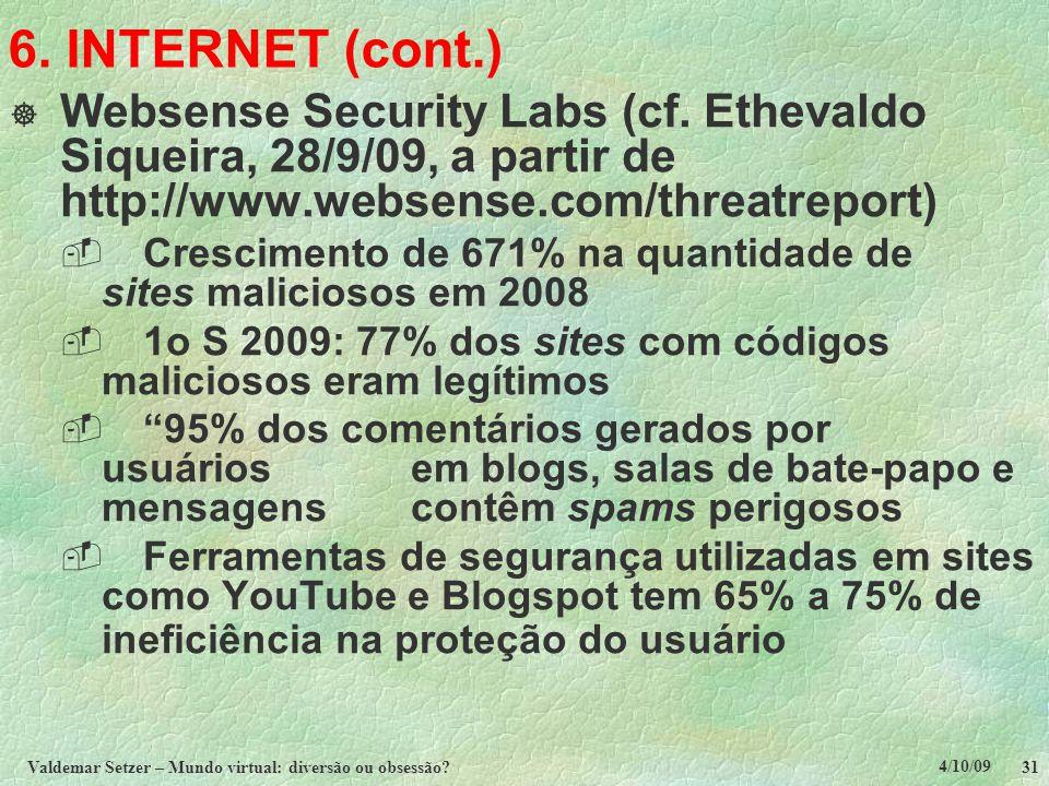 4/10/09 Valdemar Setzer – Mundo virtual: diversão ou obsessão? 31 6. INTERNET (cont.)  Websense Security Labs (cf. Ethevaldo Siqueira, 28/9/09, a par