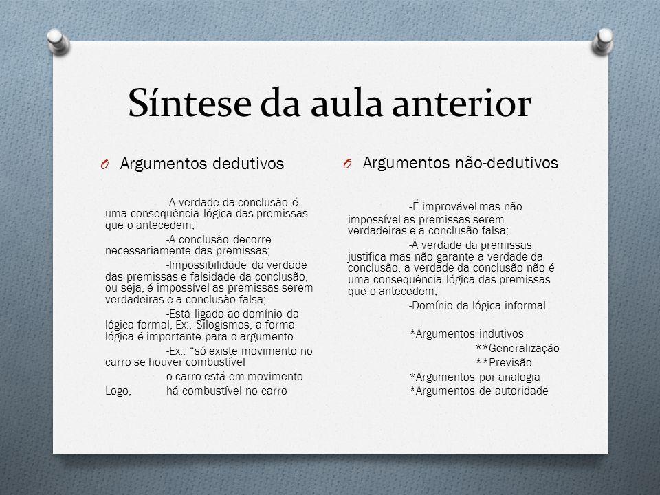 Síntese da aula anterior O Lógica formal - Interessa a forma e não conteúdo dos argumentos; Ex:.